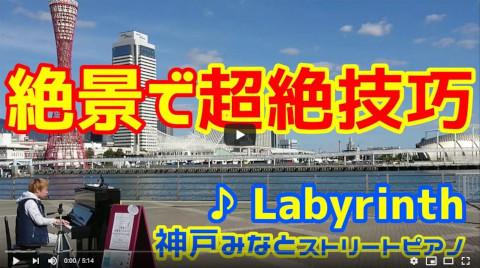 【ストリートピアノ】海のすぐ前の絶景スポットで超絶技巧 「Labyrinth」