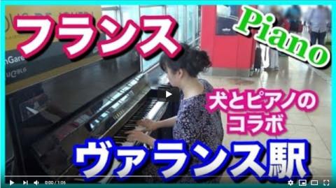【海外ストリートピアノ】フランスのヴァランス駅ピアノで愛の讃歌を犬とコラボ